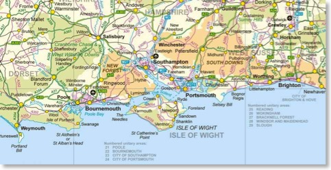 Ordnance Survey map isle of wight new forest